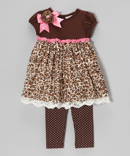 Brown Cheetah Tunic & Polka Dot Leggings - Toddler