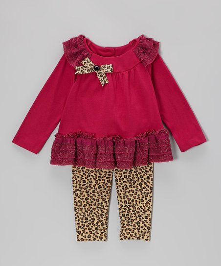 Burgundy Sparkle Ruffle Tunic & Leopard Leggings - Toddler