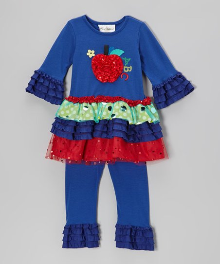Blue & Red Apple Tiered Tunic & Leggings - Infant