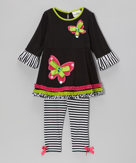 Black Butterfly Tunic & Stripe Leggings - Toddler