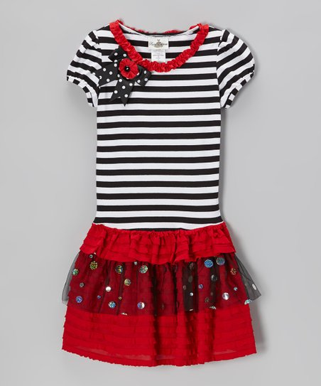 Black & Red Stripe Tiered Dress - Girls