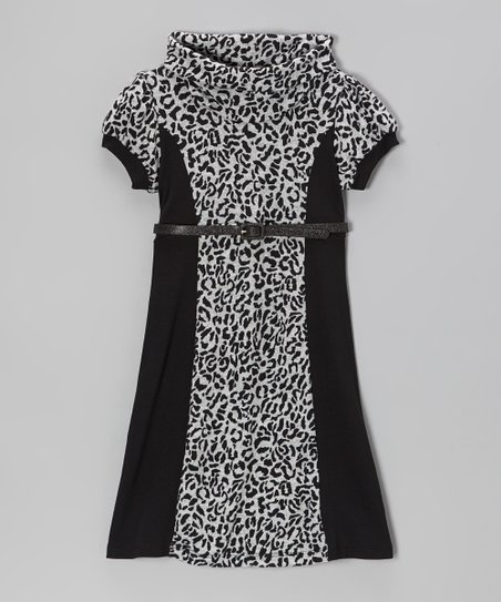 Gray & Black Leopard Cowl Neck Dress - Girls