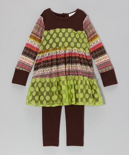 Lime & Brown Polka Dot Tiered Tunic & Leggings - Infant