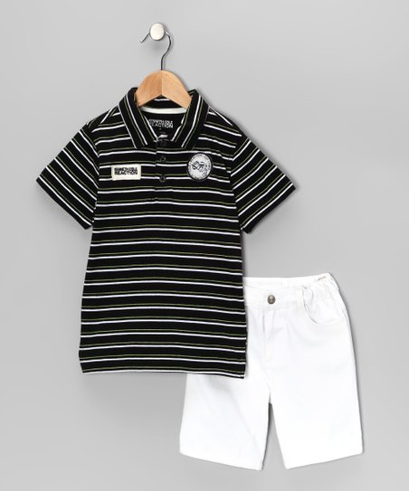 Black Stripe Polo &amp; White Shorts - Toddler &amp; Boys