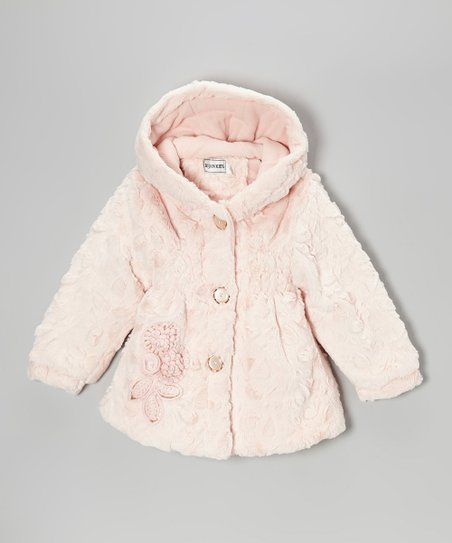 Melon Faux Fur Hooded Jacket - Infant, Toddler & Girls