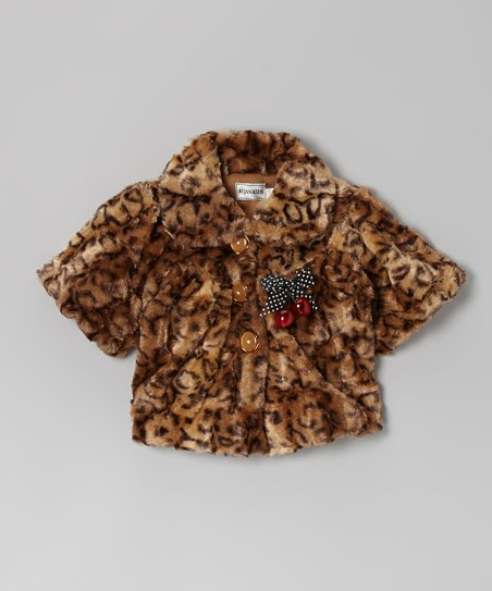 Brown Cheetah Bow Faux Fur Jacket - Infant & Girls