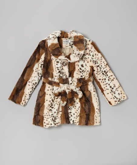 White & Brown Faux Fur Coat - Infant, Toddler & Girls