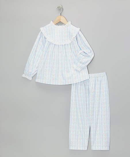 Light Blue Tyrolean Pajama Set - Girls