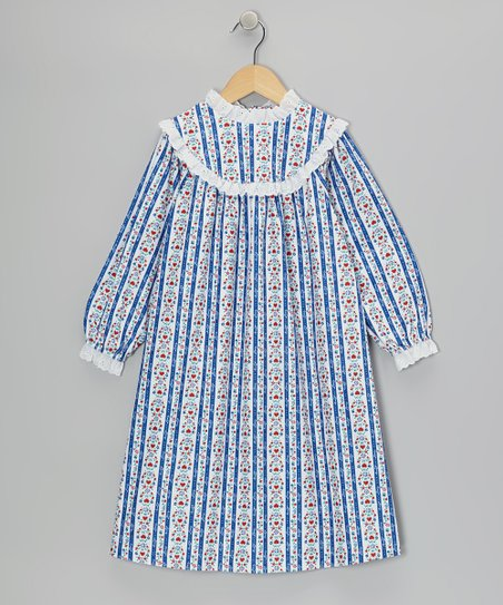 Royal Blue Tyrolean Nightgown - Girls