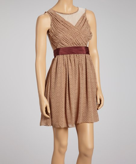 Camel & Burgundy Circle Dot Sleeveless Dress