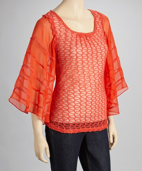 Tomato Embroidered Chiffon Cape-Sleeve Top