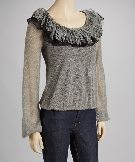 Gray Ruffle Scoop Neck Top