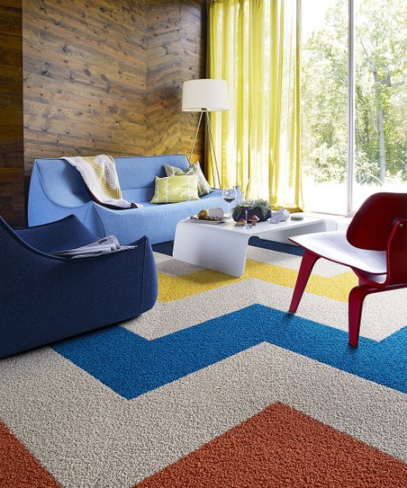 Blue, Yellow & Red Zigzag Rug Square Set
