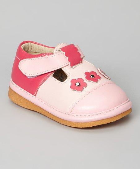 Pink & Hot Pink Floral Squeaker T-Strap Shoe