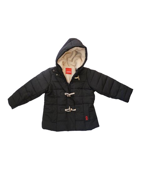Black Sherpa Hooded Puffer Coat - Toddler & Girls