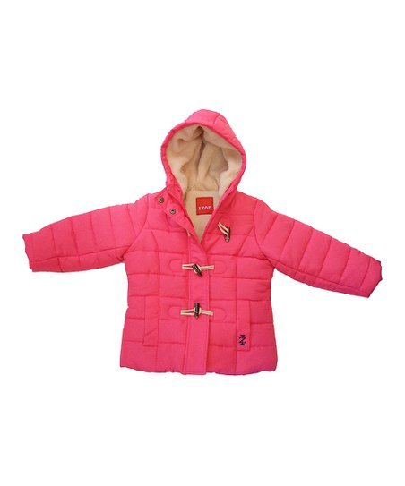 Pink Sherpa Hooded Puffer Coat - Girls