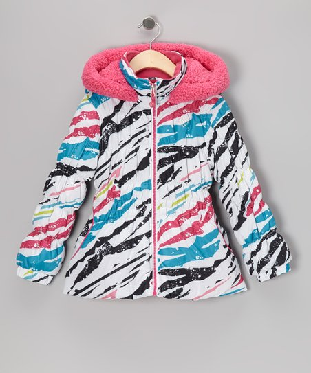 White Splatter Puffer Coat - Toddler & Girls
