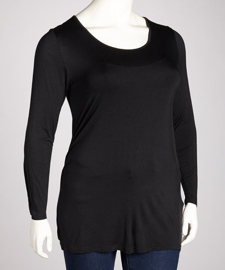 Black Scoop Neck Long-Sleeve Top - Plus