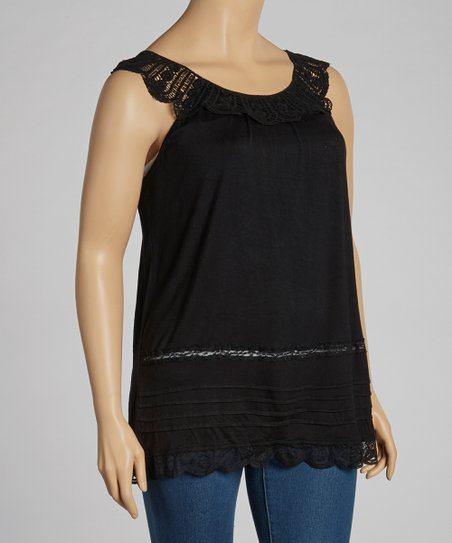 Black Lace Sleeveless Top - Plus