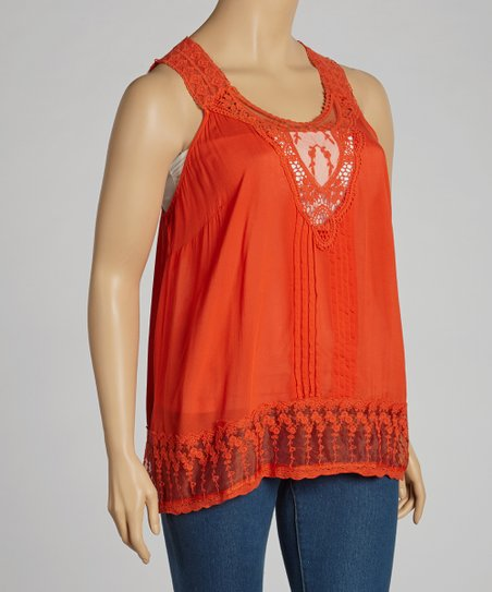 Red Embroidered Tank - Plus