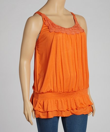 Orange Lace Crochet Tank - Plus