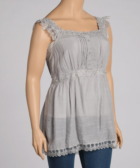 Silver Embroidered Tank - Plus