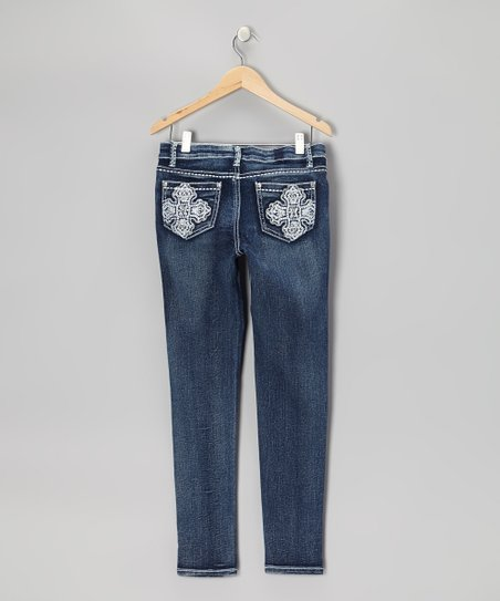 Medium Wash Cross Embroidered Skinny Jeans