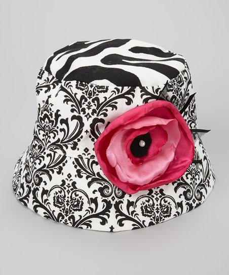 Black & White Damask Millie Grace Bucket Hat
