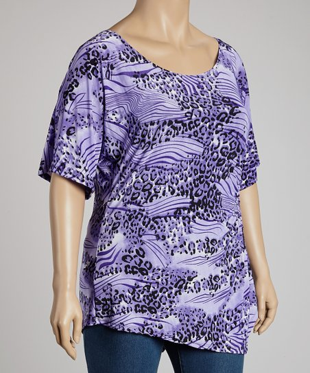 Purple & Lavender Leopard Top - Plus