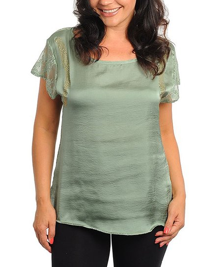 Greyed Jade Lace Accent Short-Sleeve Top - Plus