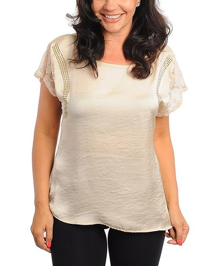 Sand Lace Accent Short-Sleeve Top - Plus
