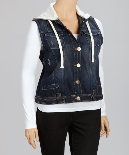 Dark Navy Denim Hooded Vest - Plus