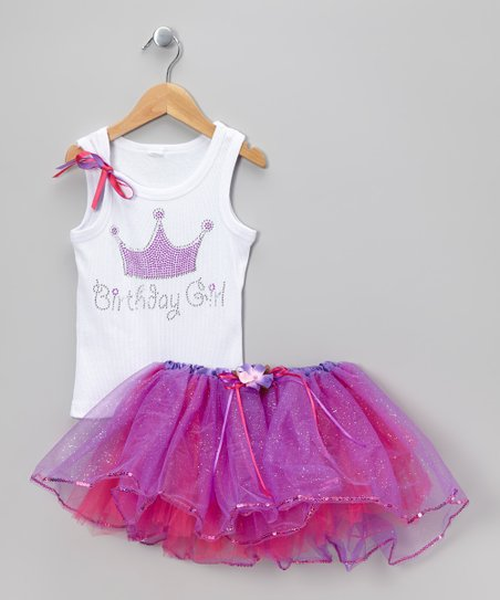 White 'Birthday Girl' Tank & Purple Tutu - Infant, Toddler & Girl