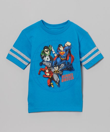 Blue 'Heroes United' Justice League Tee - Kids