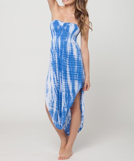 Blue Azalea Tie-Dye Strapless Dress
