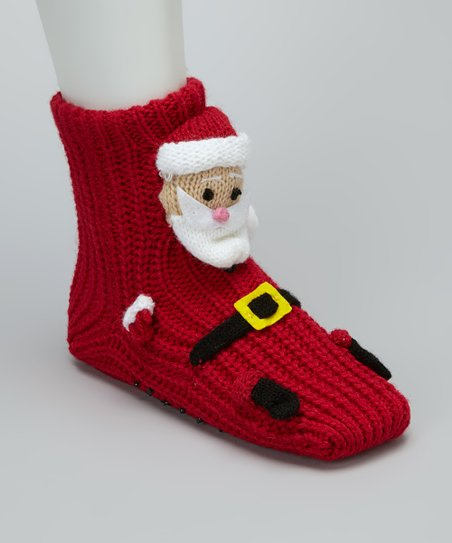 Red Saint Nick Gripper Socks