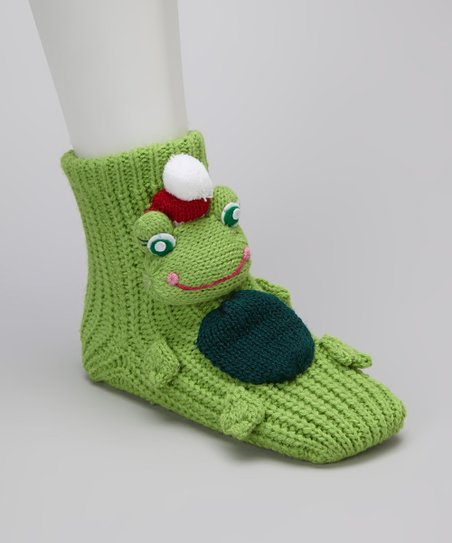 Green Holiday Frog Gripper Socks