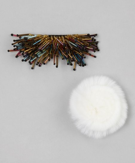 White & Rainbow Pom-Pom Ornament Set