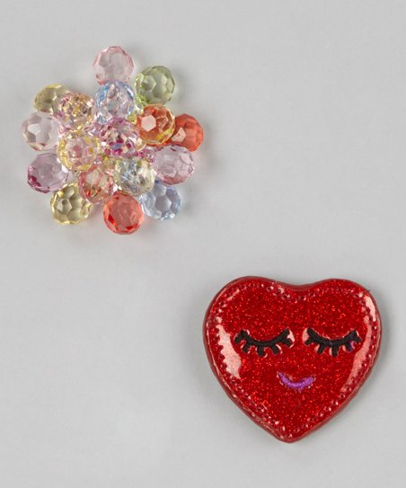 Red Stone Cluster & Sleepy Heart Ornament Set
