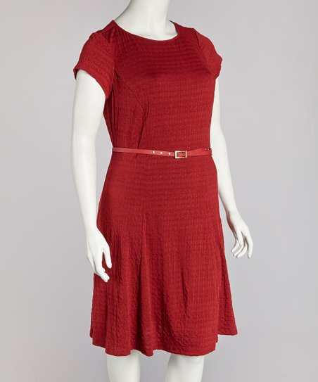 Wine Belted Dress - Plus