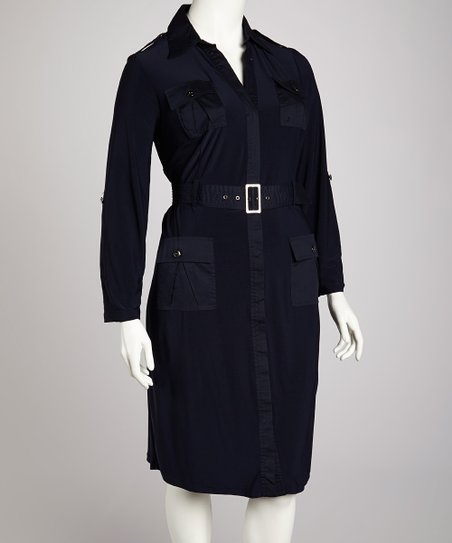 Navy Epaulette Shirt Dress - Plus