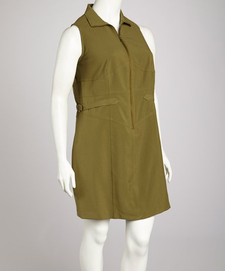 Avocado Zipper Sleeveless Dress - Plus