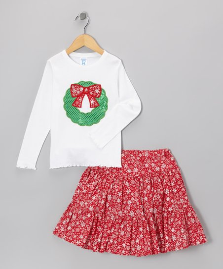 White Wreath Tee & Red Snowflake Skirt - Toddler & Girls