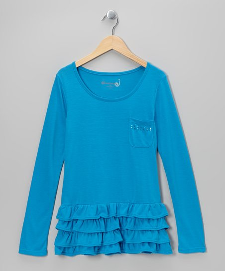 Brilliant Blue Studded Tiered Ruffle Tunic - Toddler