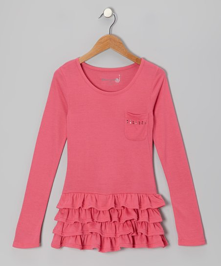 Fuchsia Studded Tiered Ruffle Tunic