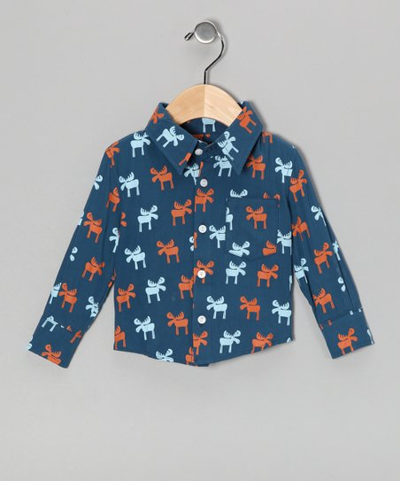 Twilight Moose Button-Up - Infant, Toddler & Boys