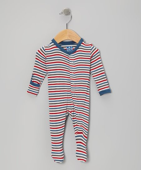 Blue & Red Winter Stripe Footie - Infant