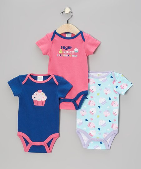 Hot Pink, Blue & Light Blue 'Sugar & Spice' Bodysuit Set - Infant