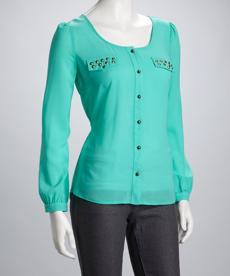 Teal Stud Button-Up