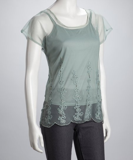 Mint Sheer Ruffle Top & Tank